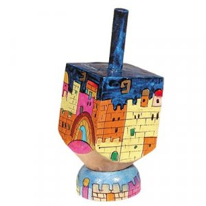 Yair Emanuel Hand Painted Wood Dreidel on Stand Small - Jerusalem Views