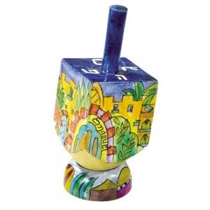 Yair Emanuel Hand Painted Wood Dreidel on Stand Small - Jerusalem Gold Images