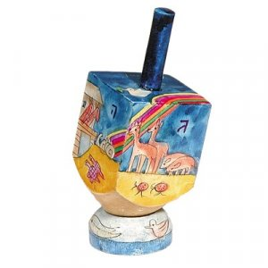 Yair Emanuel Hand Painted Wood Dreidel on Stand Small - Noah's Ark Images