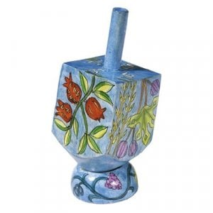 Yair Emanuel Hand Painted Wood Dreidel with Stand Blue Small - Seven Species