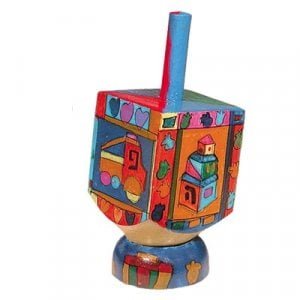 Yair Emanuel Hand Painted Wood Dreidel with Stand Small - Childrens Images