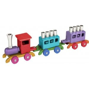 Yair Emanuel Anodized Aluminum Child's Train Hanukkah Menorah - Multicolored