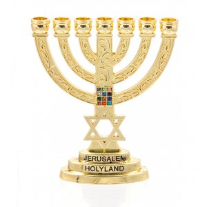 Gold Color 7-Branch Menorah with Breastplate