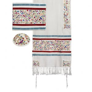 Yair Emanuel Embroidered Silk Tallit Set Birds and Flower Design - Colorful