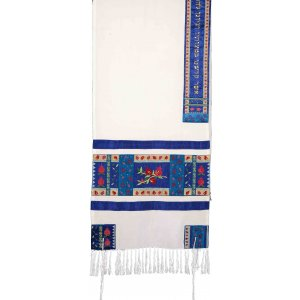 Yair Emanuel Embroidered Silk Tallit Set with Pomegranate Design - Red and Blue