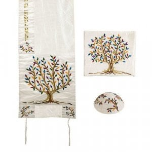 Yair Emanuel PolySilk Tallit Set Embroidered Tree of Life - Colorful