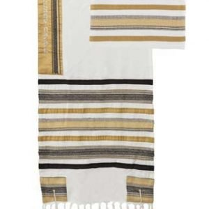Yair Emanuel Cotton Tallit Set with Applique - Brown and Black Stripes