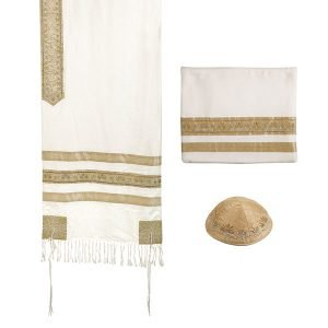 Yair Emanuel Polysilk Tallit Set with Embroidered Decorative Stripes - Gold