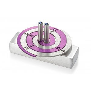 Adi Sidler Double Spiral Chanukah Dreidel Brushed Aluminum - Purple and Silver