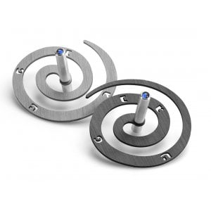 Adi Sidler Double Spiral Chanukah Dreidel, Brushed Aluminum - Black and Silver