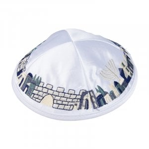 White Satiny Kippah with Attached Clip and Embroidered Jerusalem Design