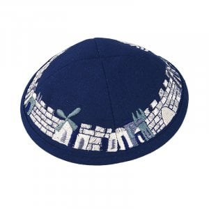 Blue Cloth Kippah with Attached Clip and Embroidered Jerusalem Design