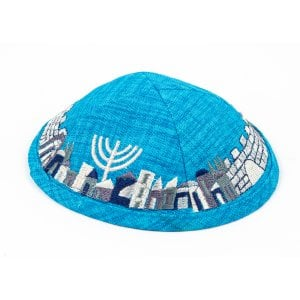 Turquoise Cloth Kippah with Attached Clip and Embroidered Jerusalem Design