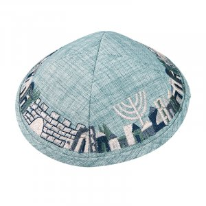 Light Green Cloth Kippah with Attached Clip and Embroidered Jerusalem Design