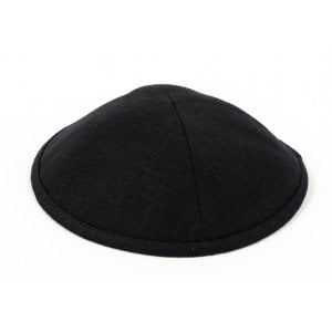 Black Linen Design Cloth Kippah with Attached Clip