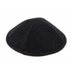 Black Textured Cloth Kippah with Attached Clip