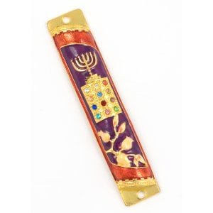 Rounded Mezuzah Case with Hoshen Breastplate and Menorah Design - Violet