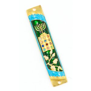 Rounded Mezuzah Case with Hoshen Breastplate and Menorah Design - Green