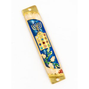Rounded Mezuzah Case with Hoshen Breastplate and Menorah Design - Blue