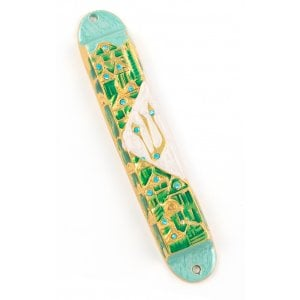 Rounded Mezuzah Case with Gleaming Jerusalem Design - Green