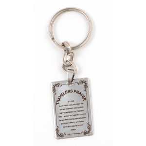 Stainless Steel Dog Tag Key Ring - English Travelers Prayer