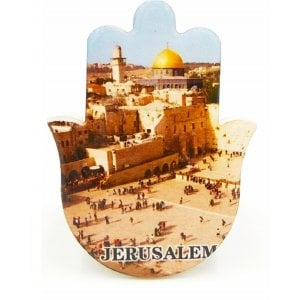 Ceramic Hamsa Magnet - Jerusalem of Gold