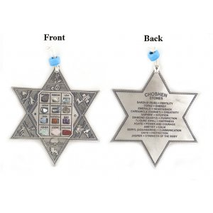 Star of David Wall Hanging with Twelve Tribes and Breastplate Stones - English