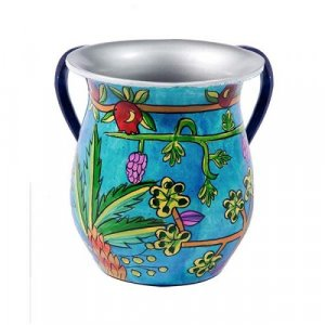 Yair Emanuel Hand Painted Metal Netilat Yadayim Wash Cup - Seven Species