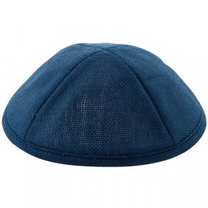 Blue Linen Kippah - Crosshatch Stitch