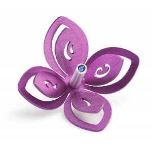 Adi Sidler Anodized Aluminum Chanukah Dreidel, Flower Design - Purple