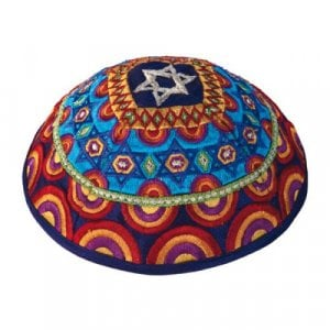 Yair Emanuel Multicolored Embroidered Kippah – Star of David Decoration