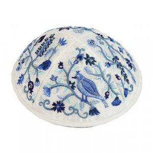White Embroidered Kippah by Yair Emanuel - Birds in Blue