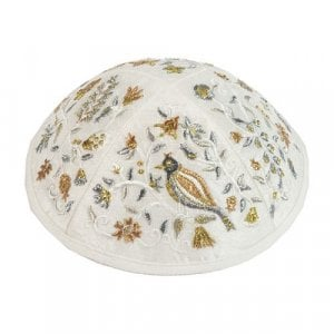 Yair Emanuel Gold and Silver Embroidered Kippah - Birds