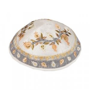 Gold and Silver Embroidered Pomegranate Kippah - Yair Emanuel