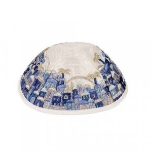Yair Emanuel Kippah, Embroidered Jerusalem Vistas - Blue