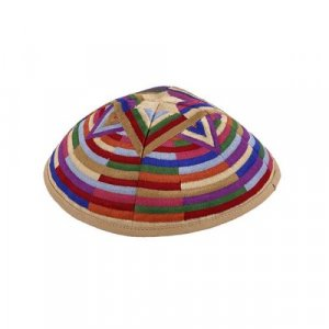 Yair Emanuel Embroidered Multicolor Kippah - Large Star of David