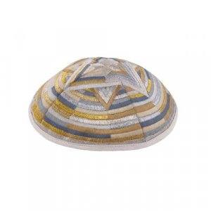 Yair Emanuel Gold Embroidered Kippah - Large Star of David