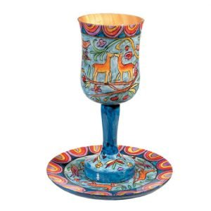 Yair Emanuel Hand Painted Large Wood Kiddush Cup with Coaster - Jerusalem Scenes