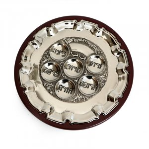 Stylish Silver Plated Seder Plate on Wood Base