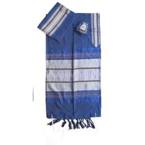 Gabrieli Handwoven Royal Blue Silk Tallit Set - Silver Stripes