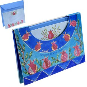 Yair Emanuel Notelets and Matching Envelopes in Folder - Pomegranates on Blue