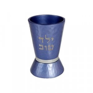 Yair Emanuel Boy's Yeled Tov Good Boy Small Blue Kiddush Cup - Silver Band