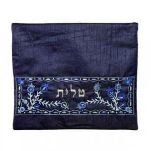 Yair Emanuel, Embroidered Tallit Tefillin Bags - Blue Pomegranates on Dark Blue