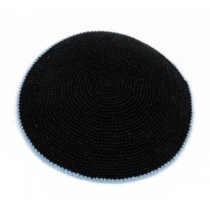 Small Black Knitted Kippah with Light Blue Border