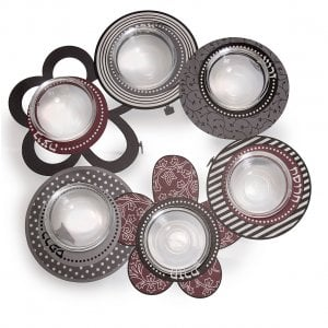Dorit Judaica Laser Cut Seder Plate with Glass Bowls - Flower Design