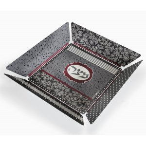 Dorit Judaica Matzah Tray with Flower and Leaf Design - Maroon and Black