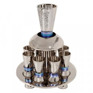 Yair Emanuel Hammered Nickel Kiddush Fountain on Tray with 8 Cups - Blue Rings