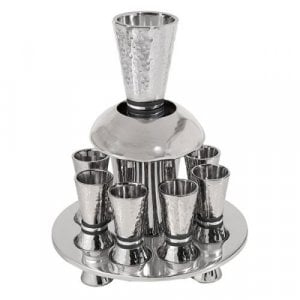 Yair Emanuel Hammered Nickel Kiddush Fountain Set 8 Cups - Silver and Gray Rings