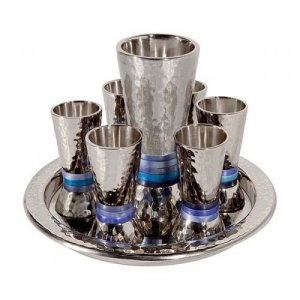 Yair Emanuel Hammered Nickel Kiddush Goblet and 6 Cups with Tray - Blue Rings