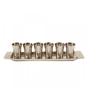 Yair Emanuel Six Hammered Nickel Kiddush Cups and Tray - Silver